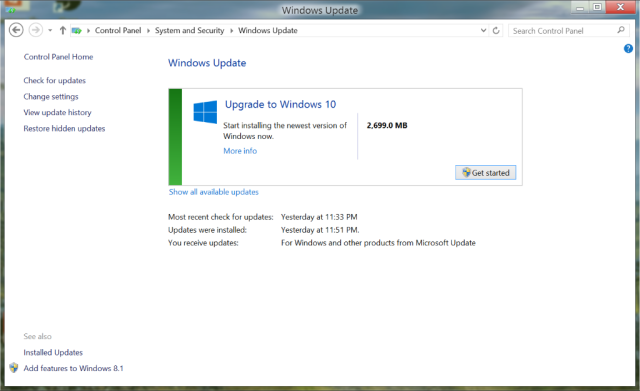 Windows 10 upgrade via Windows update